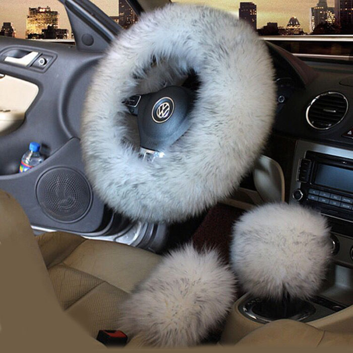Fur Steering Wheel Cover 3-Piece Set