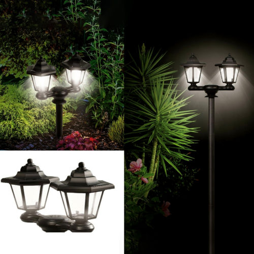 Solar Post Lights Dual Lamp