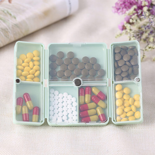 Travel Pill Organizer 7-Grid Container