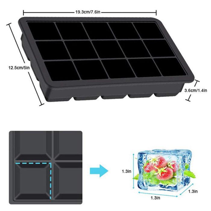 Ice Cube Tray with Lid 15 Holes Ice Tray