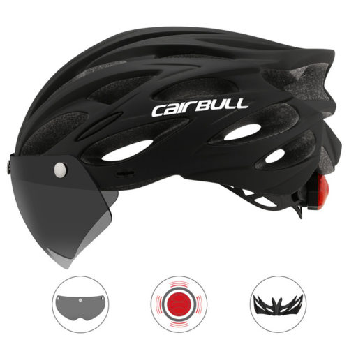 Bike Helmet with Visor and LED Light