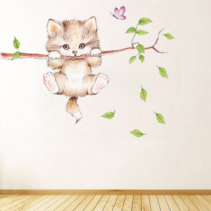 Cat Wall Sticker Cute DIY Animal Wall Decal