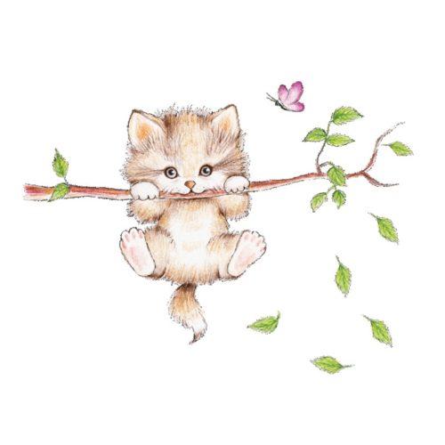 Cat Wall Sticker Cute DIY Animal Wall Decal