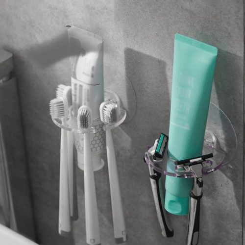 Keep dental health needs within an arm's reach in this Wall Toothbrush Holder Four-Slot Holder! It has a convenient open design and is easy to install!
