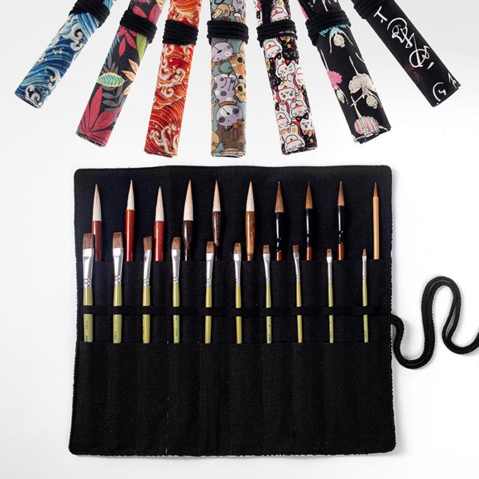 Roll Up Pencil Case 20 Holes Pen Bag