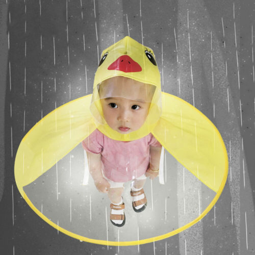 Duck Raincoat Kids Cartoon Poncho