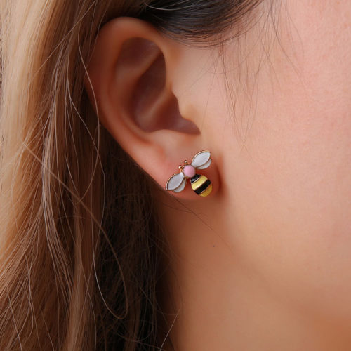 Bumble Bee Earrings Stud Accessory