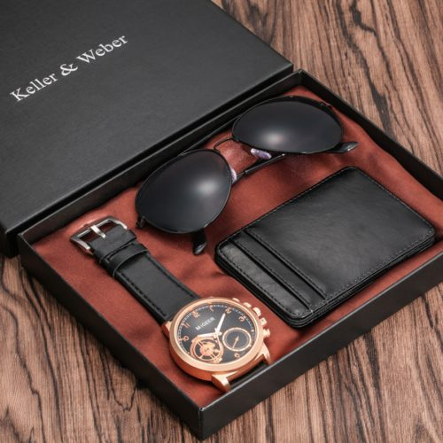 Watch Set for Men with Shades and Wallet