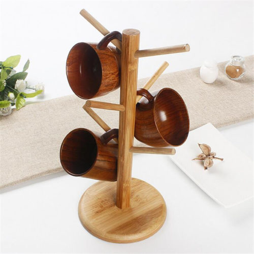Wooden Cup Holder 6-Hook Rack