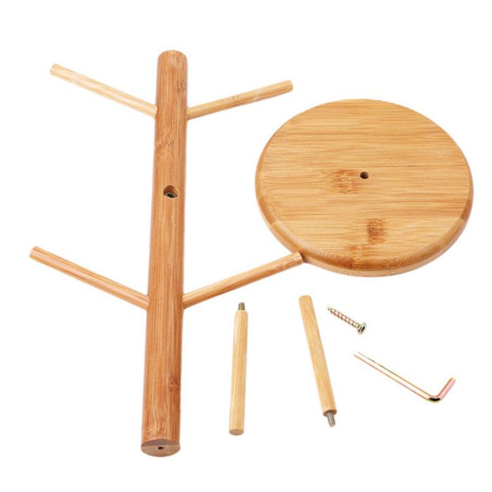 Wooden Cup Holder 6-Hook Rack