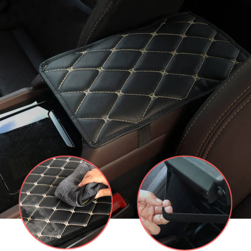 Car Arm Rest Cover Leather Mat