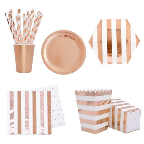 Rose Gold Paper Plates Disposable Utensil