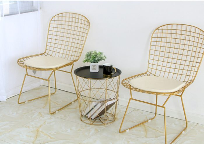 Round Metal Coffee Table with Storage Basket