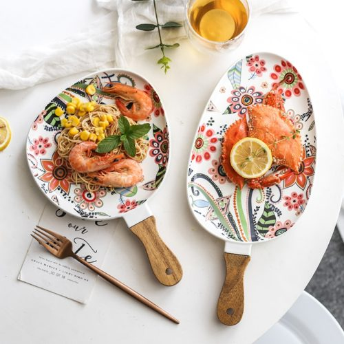 Ceramic Dinner Plate with Handle
