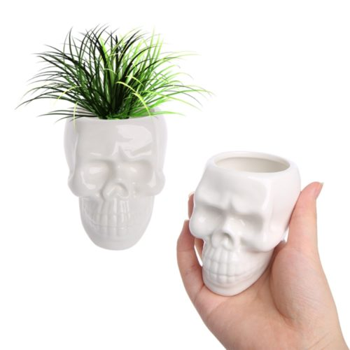 Skull Plant Pot Ceramic Decor