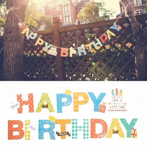 Happy Birthday Banner Colorful Party Decoration