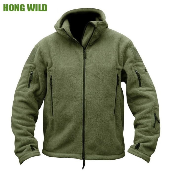 Mens Fleece Jacket Multi-Pockets Jacket