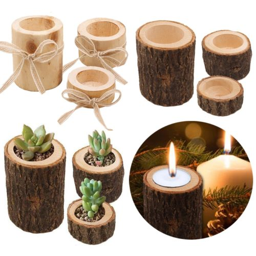 Log Candle Holder Rustic Decor