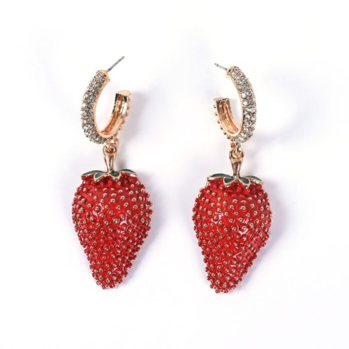 Strawberry Earrings Luxurious Ladies Jewelry