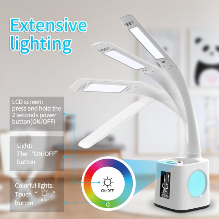 Desk LED Lamp with Clock