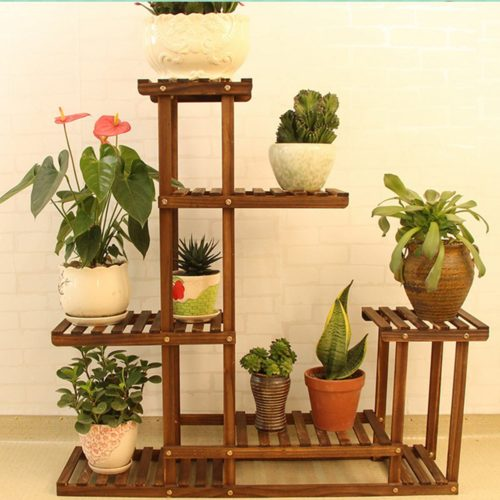 Indoor Plant Rack 5-Tier Wooden Stand
