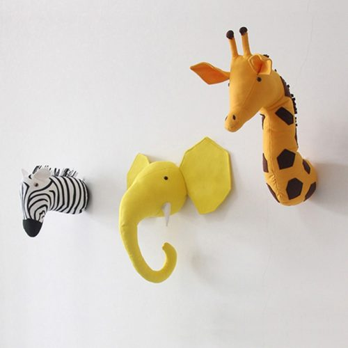 Animal Head Wall Decor Plush Animal Head