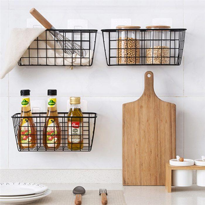 Metal Storage Basket Hanging Organizer