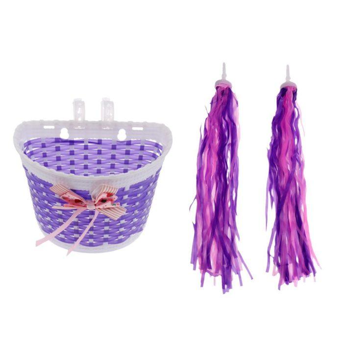 Girls Bike Basket with Bike Streamers Tassel