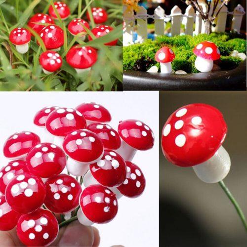 Mushroom Garden Ornaments Red Color (10Pcs)