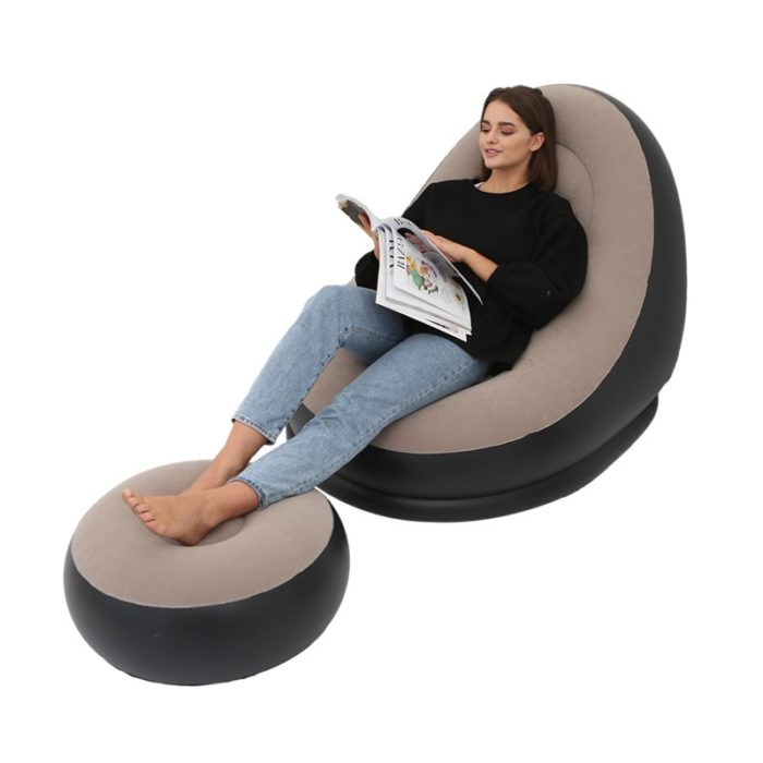 Inflatable Bean Bag Chair with Stool