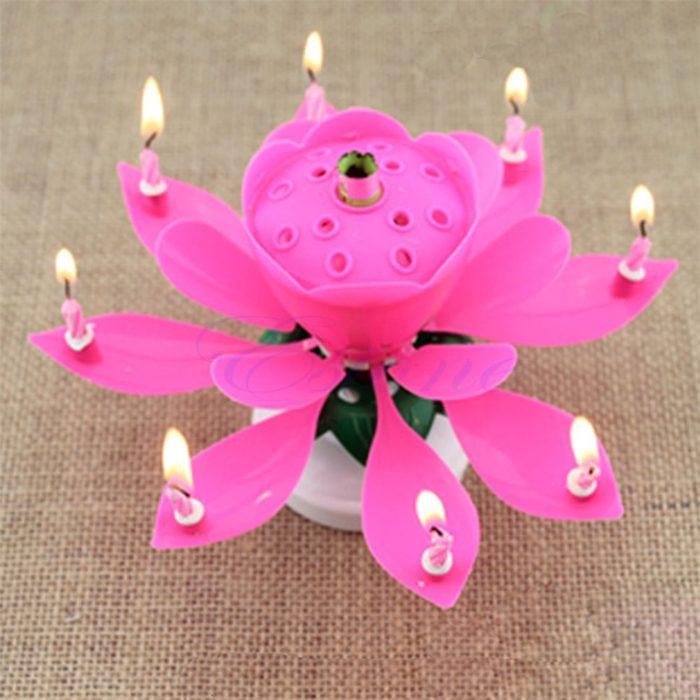Lotus Birthday Candle Musical Cake Decor
