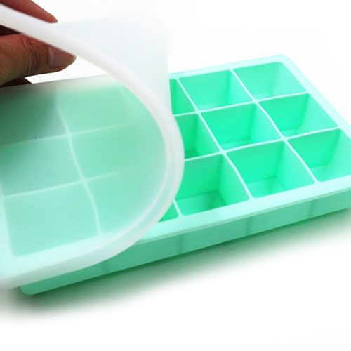 Ice Tray with Lid Silicone Cube Mold