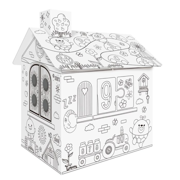Coloring Cardboard House Craft Playhouse