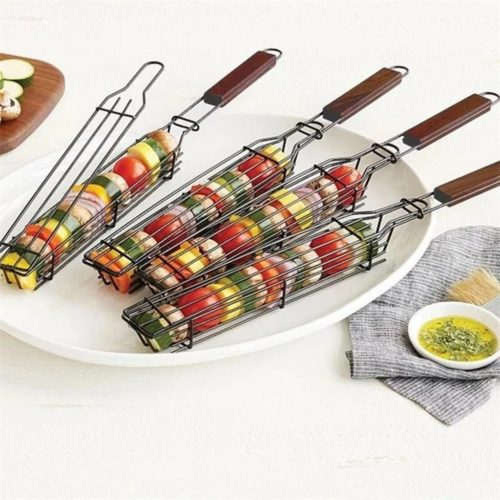 BBQ Basket Non-Stick with Rosewood Handle