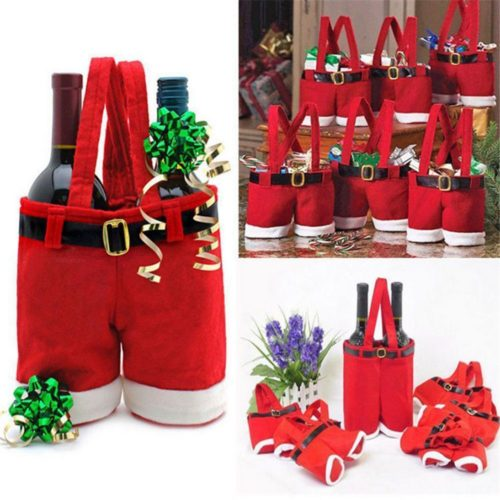 Wine Bottle Gift Bag Santa Design