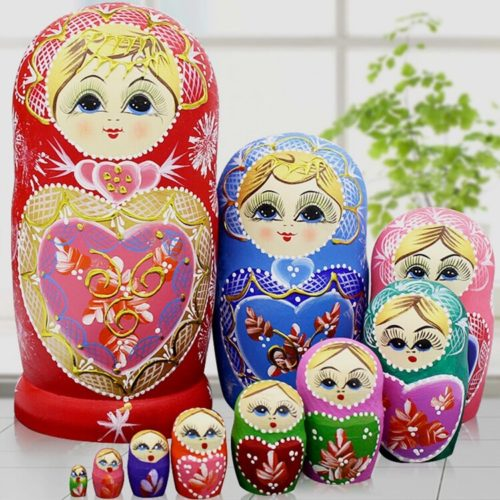 Wooden Russian Dolls 10-Piece Set