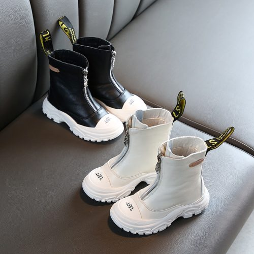 Girls Leather Boots Soft Bottom Shoes