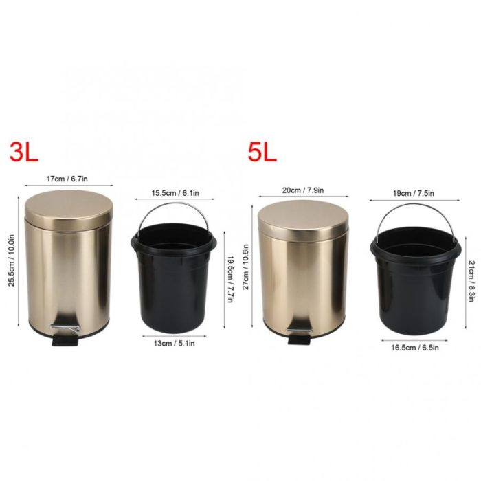Foot Pedal Trash Can Stainless Bin