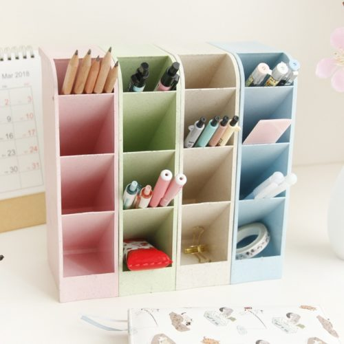 Desk Pen Holder 4 Grid Organizer
