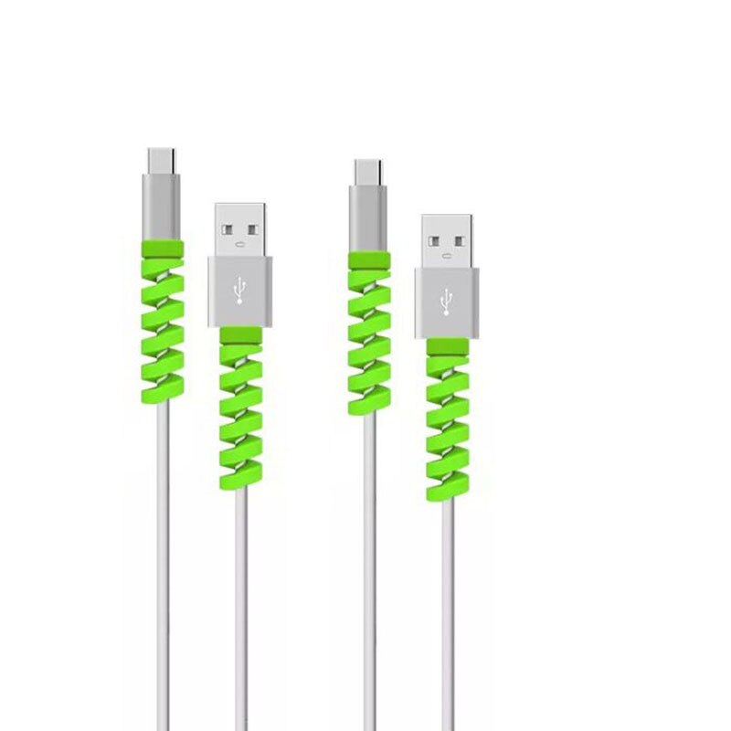 4pcs Kit Soft USB Charging Cable Bobbin Winder Phone Wire Cord Rope Protector Data Line Earphone Cover Suit Spring Sleeve Twine