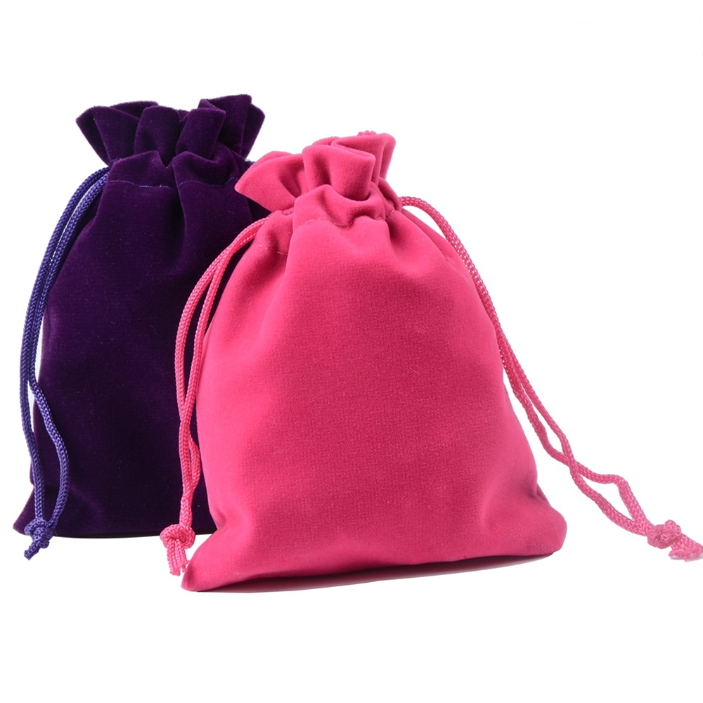 10pcs/lot 7x9cm 9x12cm Coloful Velvet Pouches Jewelry Packaging Display Drawstring Packing Gift Bags & Pouches