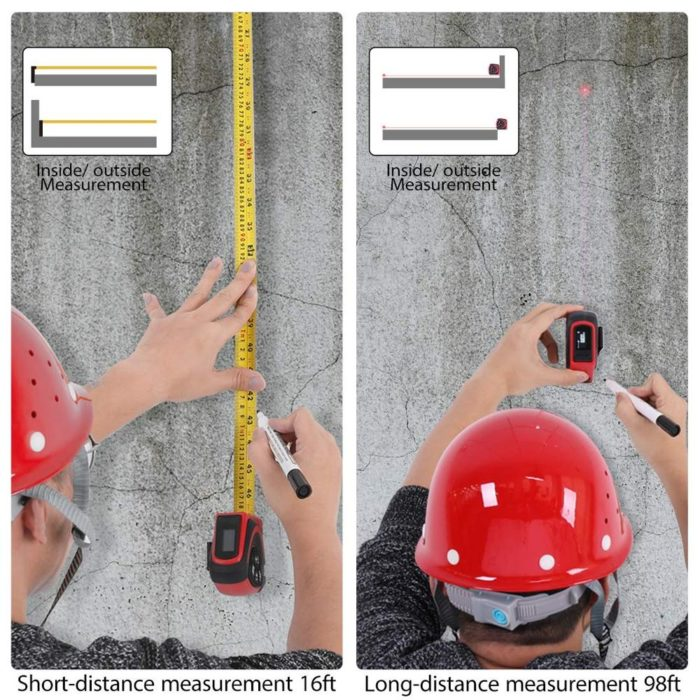 Retractable Tape Measure with Laser