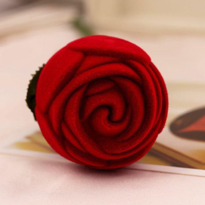 Rose Ring Box Red Velvet Jewelry Holder
