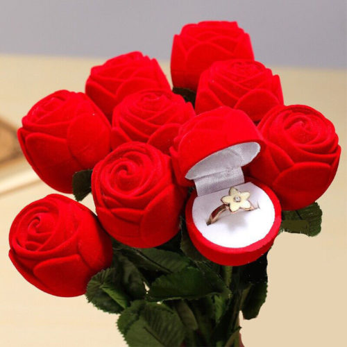 Rose Ring Box Red Velvet Jewelry Holder