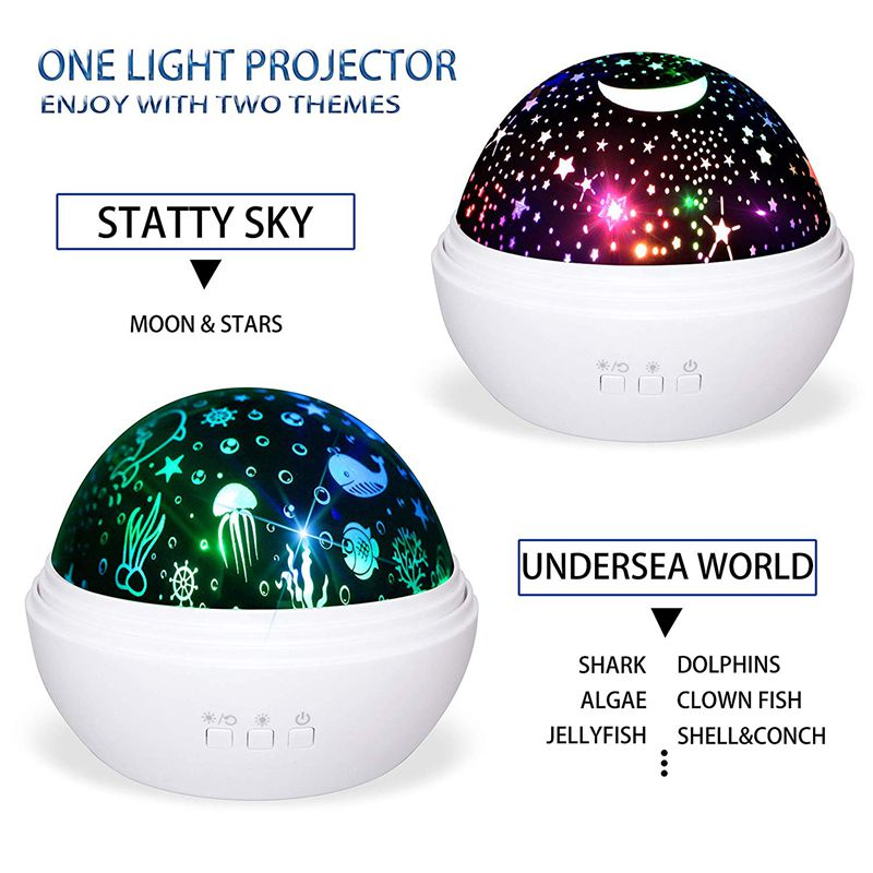 Star Projector Light, Night Lamp Romantic Rotating Sea Animals Star Moon Cover Projector Night Lighting For Children Adults Bedr