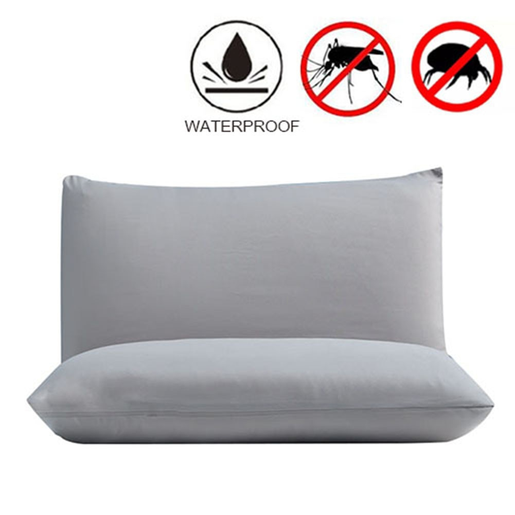 2pcs 50X70CM Waterproof Zippered Pillow Protector Bed Bug Proof Pillow Cover Protects Against Dust Mite Polyester+TPU For Hotel