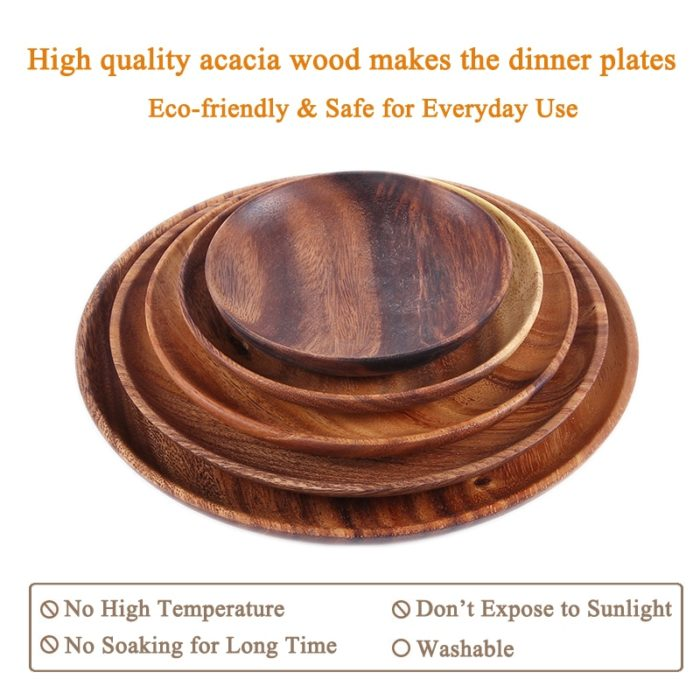 Wooden Plate Round Solid Acacia Tableware