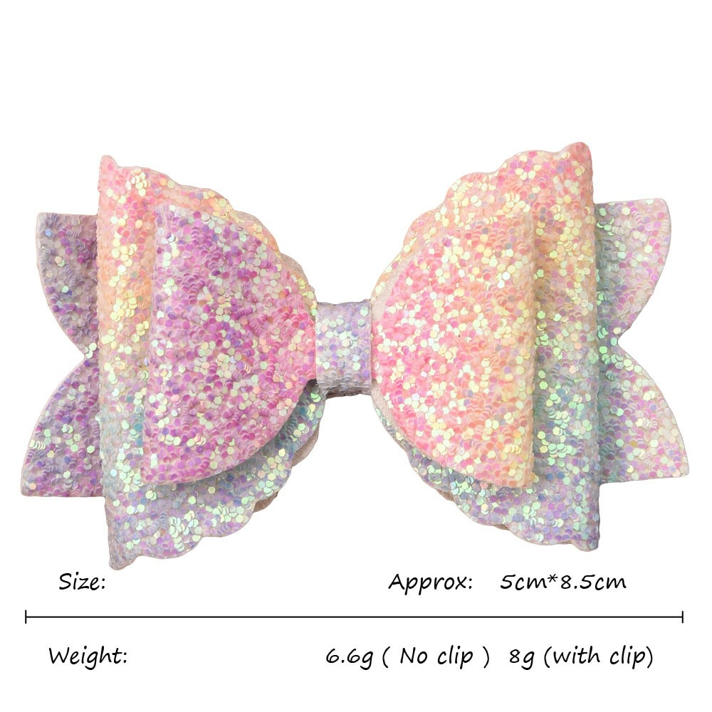 5PCS 3.5inch Glitter Bows with Rhinestone Dot Sequin bow Boutique Hair bows Hair Accessories Hairclips or No Clip Accessory