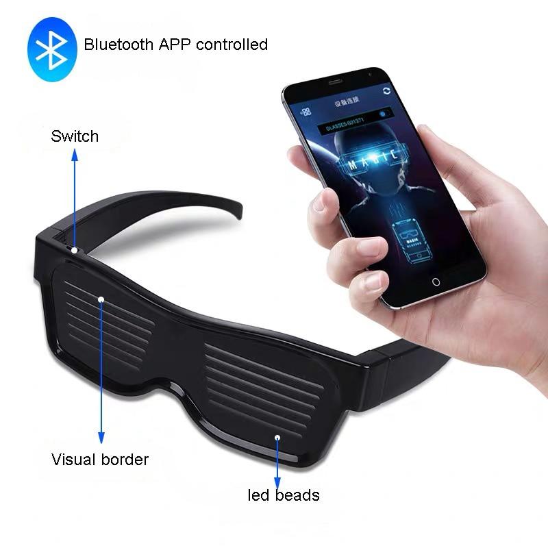 Magic Bluetooth Led Party Glasses APP Control Luminous Glasses USB Charge DIY Edit Multi-lingual Quick Flash Led