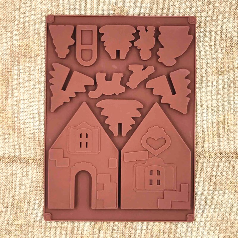 2Pcs/Set 3D Christmas Silicone Molds Gingerbread Chocolate Mold Cake Mold Fondant Molds DIY House Biscuits Cake Decorating Tools
